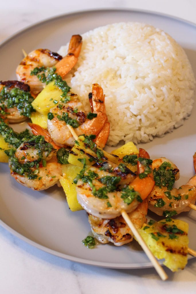 Shrimp & Pineapple Skewers with Coconut Rice topped with Chimichurri Sauce
