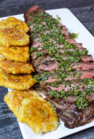 Grilled Flank Steak with Chimichurri & Tostones