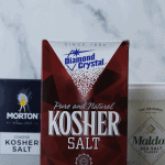 Boxes of Morton Coarse Kosher Salt, Diamond Crystal Kosher Salt, and Maldon Sea Salt.