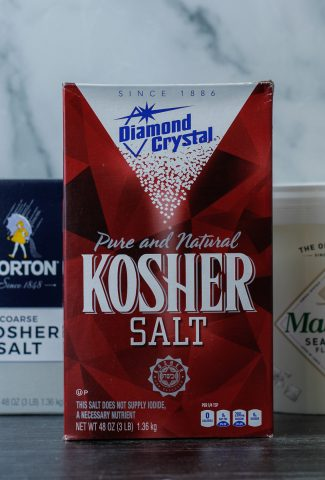 Boxes of Morton Coarse Kosher Salt, Diamond Crystal Kosher Salt, and Maldon Sea Salt.