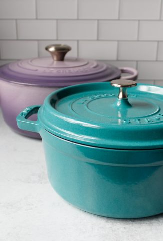 5.5 Qt Le Creuset Dutch Oven in the color Provence and a 4 Qt Staub Cocotte, in the color Turquoise.