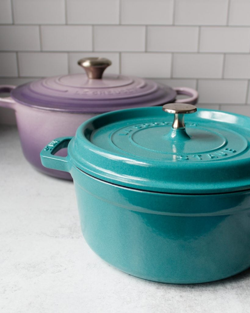 5.5 Qt Le Creuset Dutch Oven in the color Provence and a 4 Qt Staub Cocotte, in the color Turquoise. Kitchen essentials.