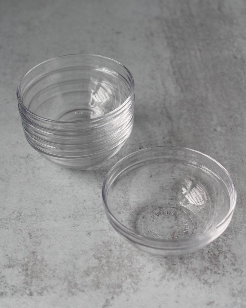 Glass mini bowls. Mise en place bowls. Kitchen essentials.