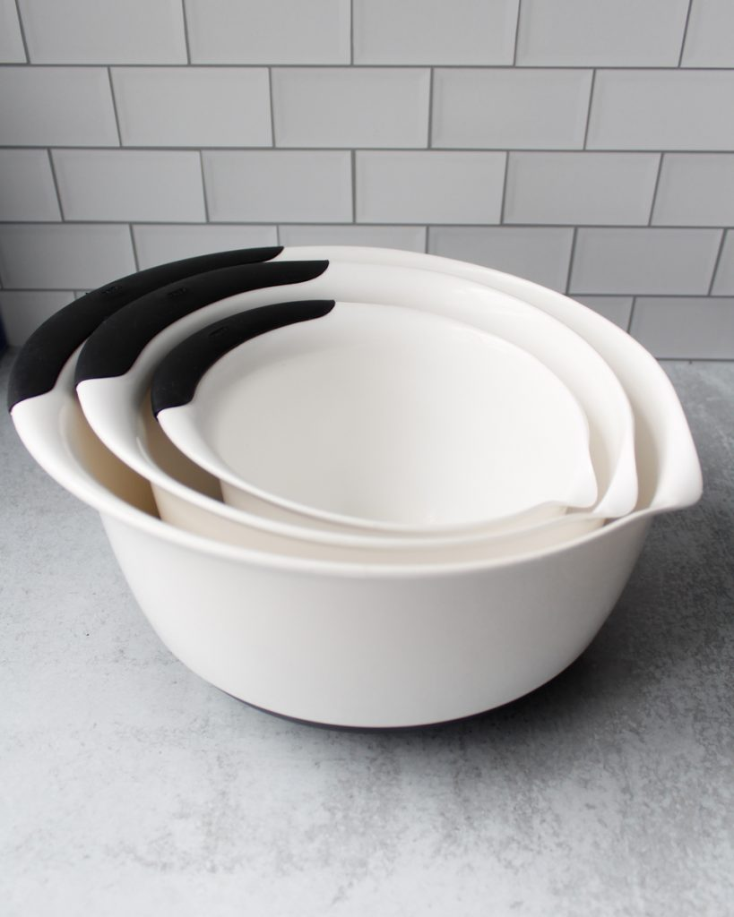 OXO plastic mixing bowl set. Kitchen essentials.